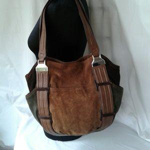 Tignanello 3 Color Suede Bucket Shoulder Bag Purse